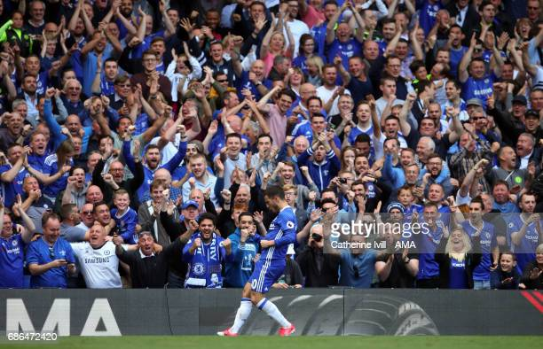 Eden Hazard of Chelsea celebrates after scoring in front of the fans during the Premier League match between Chelsea and Sunderland at Stamford...