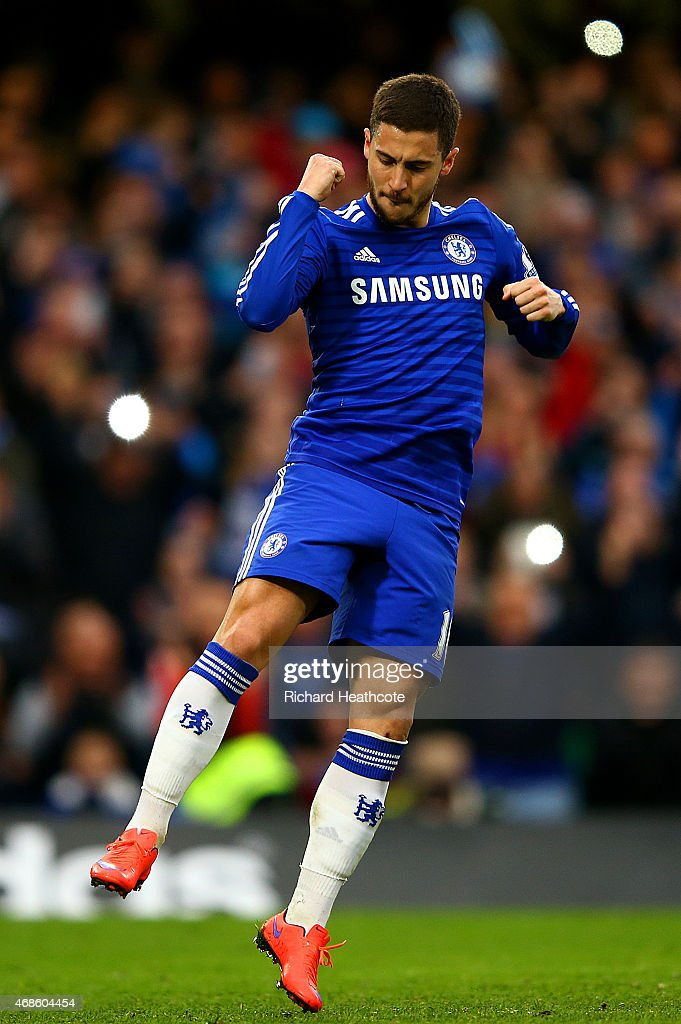 Eden Hazard of Chelsea celebrates after scoring the opening goal from the penalty spot during the Barclays Premier League match between Chelsea and Stoke City at Stamford Bridge on April 4, 2015 in London, England.