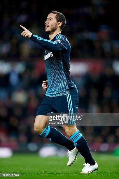 Eden Hazard of Chelsea celebrates after scoring the opening goal during the Barclays Premier League match between West Ham and Chelsea at the Boleyn...
