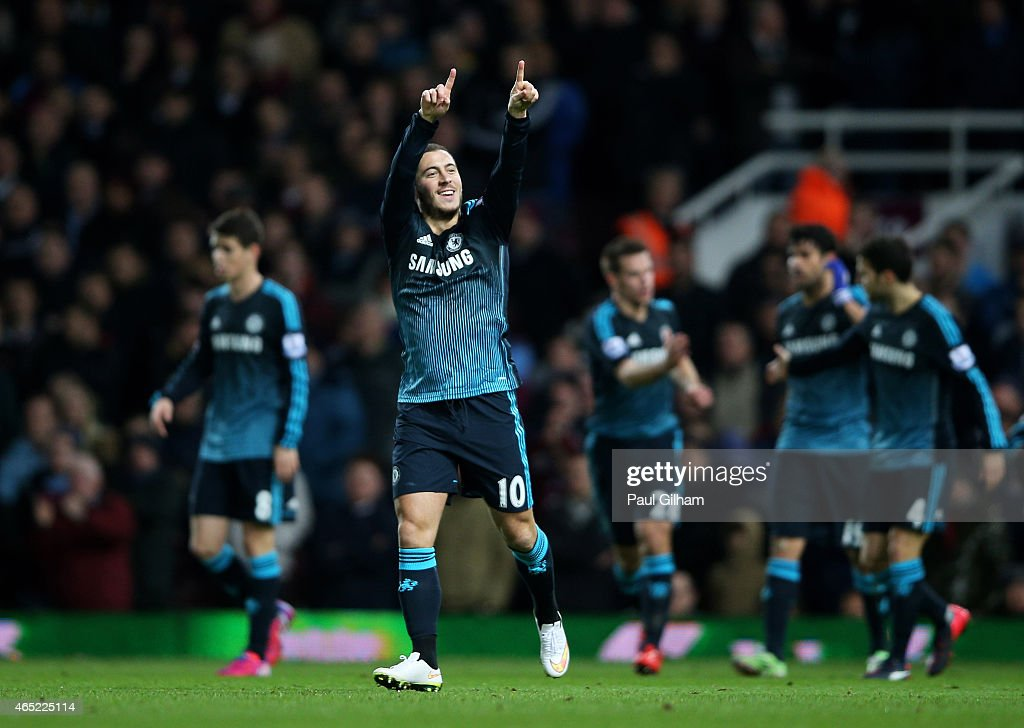 Eden Hazard of Chelsea celebrates after scoring the opening goal during the Barclays Premier League match between West Ham and Chelsea at the Boleyn Ground on March 4, 2015 in London, England.