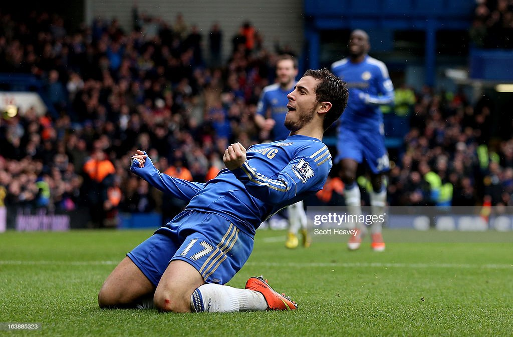 Eden Hazard of Chelsea celebrates after scoring their second goal in action during the Barclays Premier League match between Chelsea and West Ham United at Stamford Bridge on March 17, 2013 in London, England.