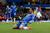 Eden Hazard of Chelsea celebrates after scoring their second goal in action during the Barclays Premier League match between Chelsea and West Ham...