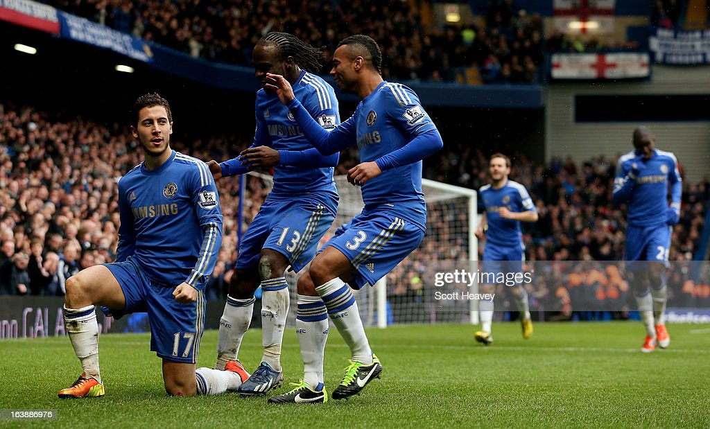 Eden Hazard of Chelsea celebrates after scoring their second goal during the Barclays Premier League match between Chelsea and West Ham United at Stamford Bridge on March 17, 2013 in London, England.
