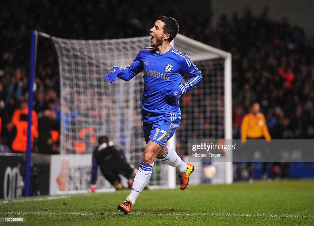<a gi-track='captionPersonalityLinkClicked' href=/galleries/search?phrase=Eden+Hazard&family=editorial&specificpeople=5539543 ng-click='$event.stopPropagation()'>Eden Hazard</a> of Chelsea celebrates his goal during the UEFA Europa League Round of 32 second leg match between Chelsea and Sparta Praha at Stamford Bridge on February 21, 2013 in London, England.