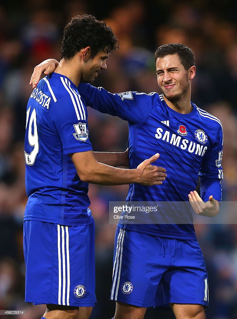Eden Hazard (R) of Chelsea celebrates his goal with Diego Costa (L) during the Barclays Premier League match between Chelsea and Queens Park Rangers at Stamford Bridge on November 1, 2014 in London, England.