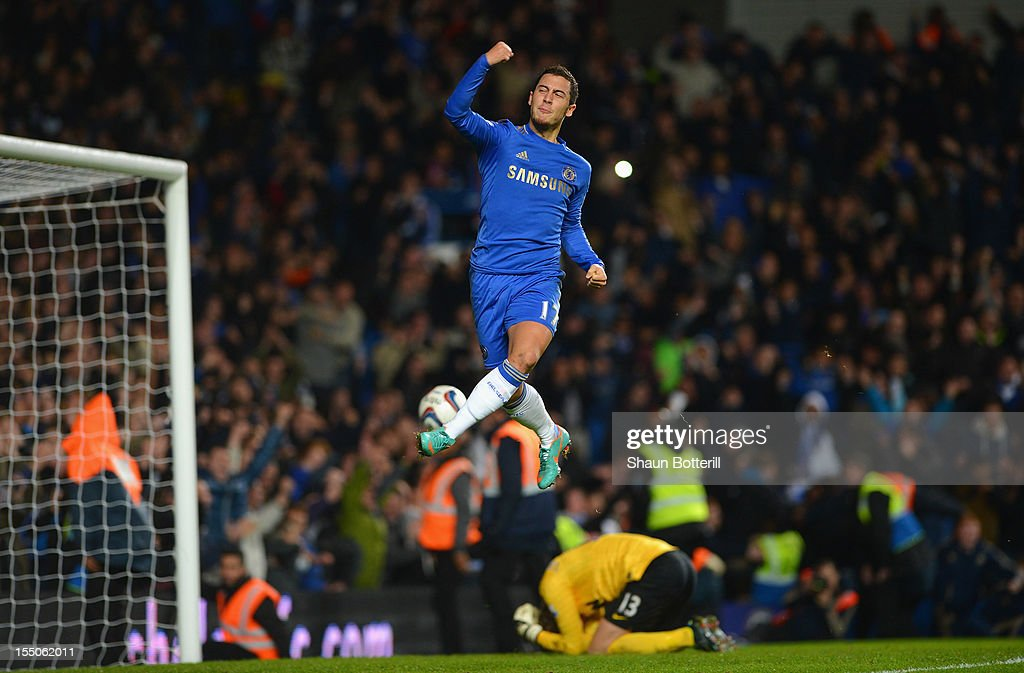 <a gi-track='captionPersonalityLinkClicked' href=/galleries/search?phrase=Eden+Hazard&family=editorial&specificpeople=5539543 ng-click='$event.stopPropagation()'>Eden Hazard</a> of Chelsea celebrates his penalty during the Capital One Cup Fourth Round match between Chelsea and Manchester United at Stamford Bridge on October 31, 2012 in London, England.