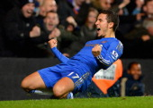 Eden Hazard of Chelsea celebrates his penalty during the Capital One Cup Fourth Round match between Chelsea and Manchester United at Stamford Bridge...