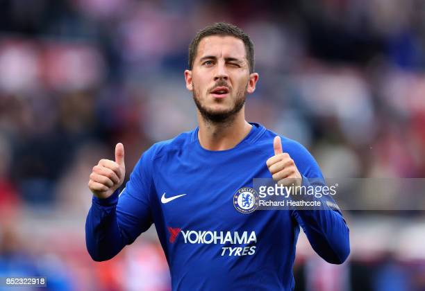 Eden Hazard of Chelsea celebrates his side's 40 victory after the Premier League match between Stoke City and Chelsea at Bet365 Stadium on September...