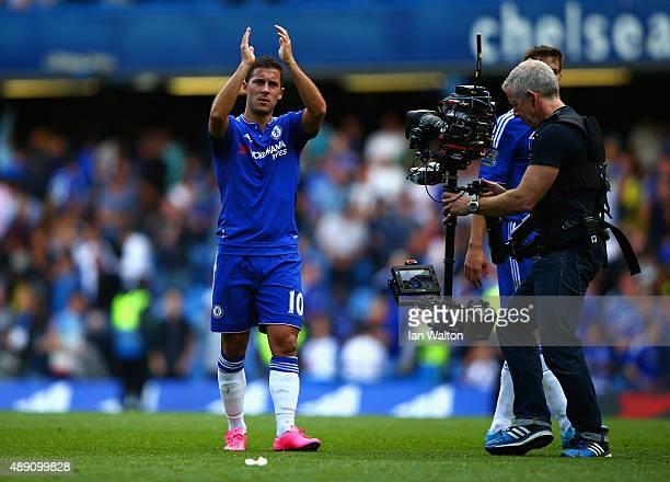 Eden Hazard of Chelsea celebrates his team's 20 win in the Barclays Premier League match between Chelsea and Arsenal at Stamford Bridge on September...