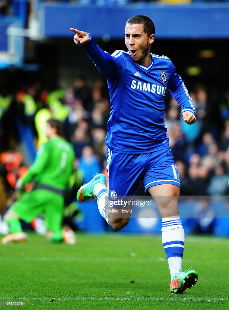 Eden Hazard of Chelsea celebrates scoring during the Barclays Premier League match between Cheslea and Newcastle United at Stamford Bridge on February 8, 2014 in London, England.