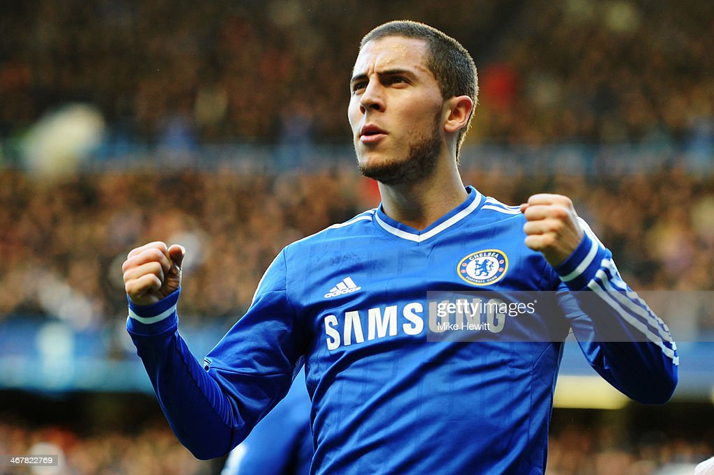 <a gi-track='captionPersonalityLinkClicked' href=/galleries/search?phrase=Eden+Hazard&family=editorial&specificpeople=5539543 ng-click='$event.stopPropagation()'>Eden Hazard</a> of Chelsea celebrates scoring during the Barclays Premier League match between Cheslea and Newcastle United at Stamford Bridge on February 8, 2014 in London, England.