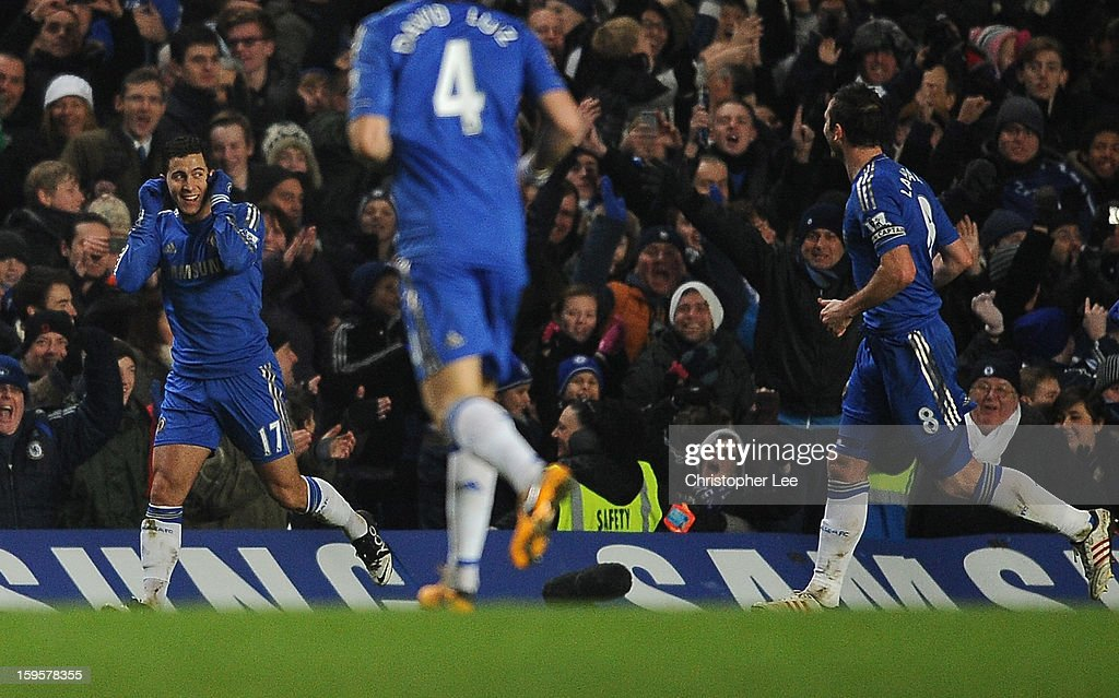 Eden Hazard of Chelsea celebrates scoring his goal and Chelsea's second during the Barclays Premier League match between Chelsea and Southampton at Stamford Bridge on January 16, 2013 in London, England.