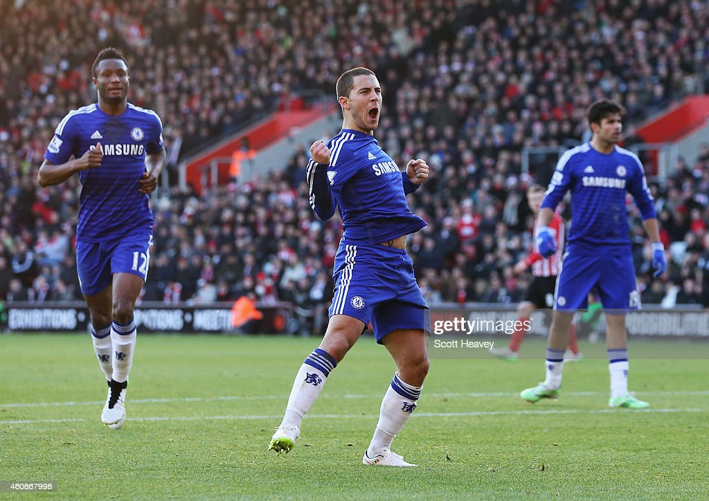 Eden Hazard of Chelsea celebrates scoring his goal during the Barclays Premier League match between Southampton and Chelsea at St Mary's Stadium on...