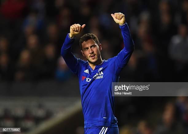Eden Hazard of Chelsea celebrates scoring his penalty during the Emirates FA Cup Fourth Round match between Milton Keynes Dons and Chelsea at Stadium...