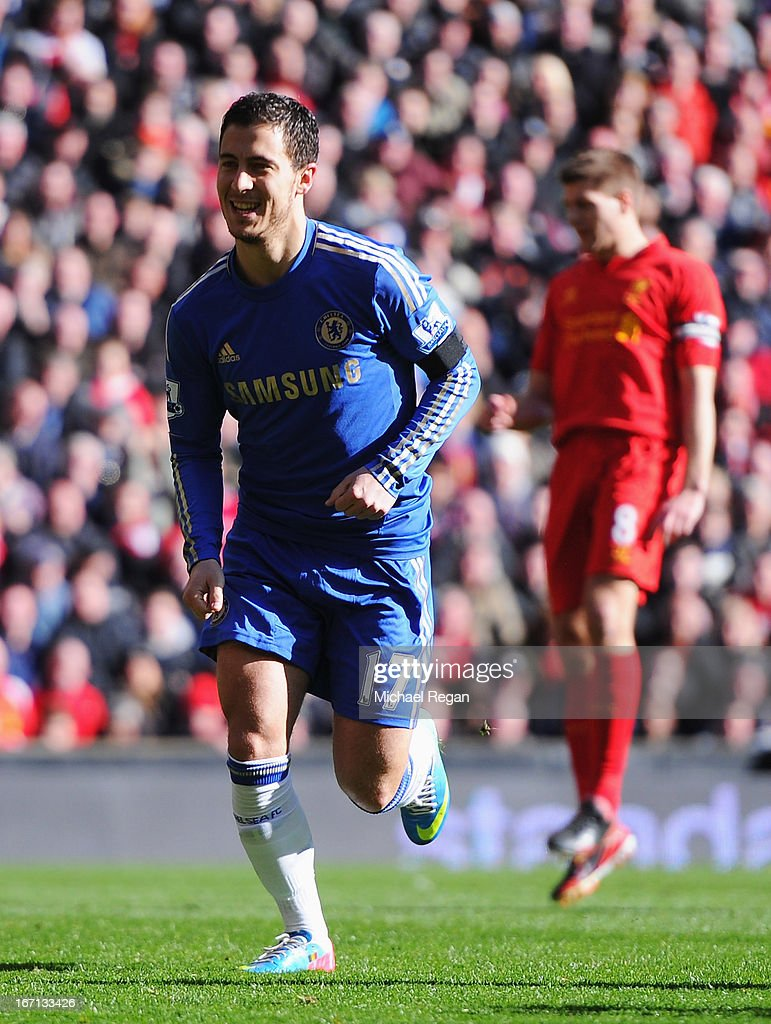 Eden Hazard of Chelsea celebrates scoring his penalty during the Barclays Premier League match between Liverpool and Chelsea at Anfield on April 21, 2013 in Liverpool, England.