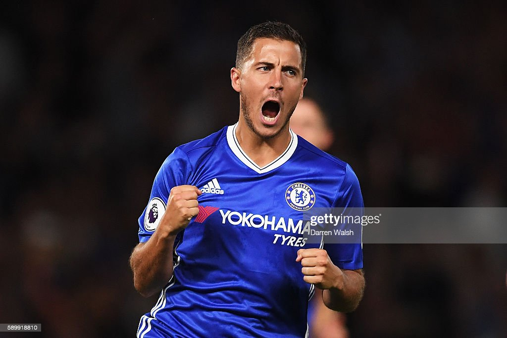 Eden Hazard of Chelsea celebrates scoring his penalty during the Premier League match between Chelsea and West Ham United at Stamford Bridge on August 15, 2016 in London, England.