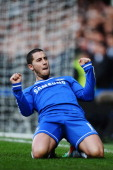 Eden Hazard of Chelsea celebrates scoring his second goal during the Barclays Premier League match between Cheslea and Newcastle United at Stamford...