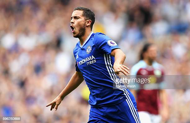 Eden Hazard of Chelsea celebrates scoring his sides first goal during the Premier League match between Chelsea and Burnley at Stamford Bridge on...