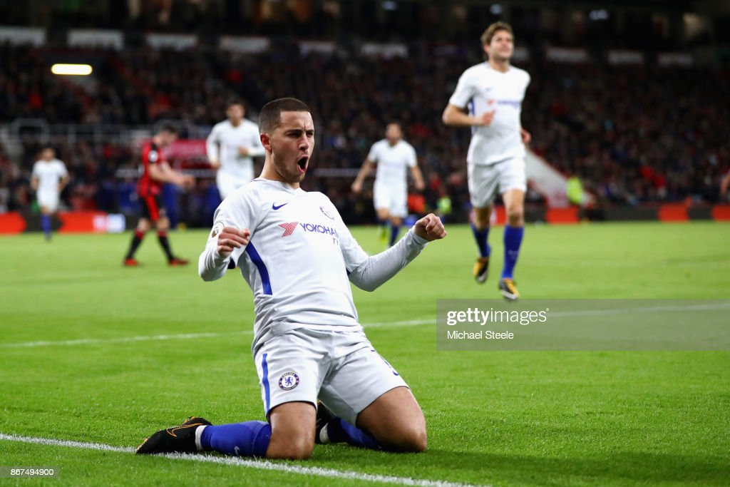 Eden Hazard of Chelsea celebrates scoring his sides first goal during the Premier League match between AFC Bournemouth and Chelsea at Vitality Stadium on October 28, 2017 in Bournemouth, England.