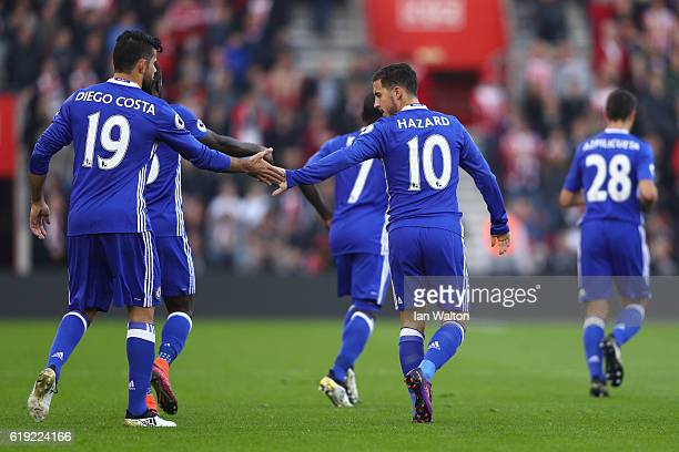 Eden Hazard of Chelsea celebrates scoring his sides first goal wth Diego Costa of Chelsea during the Premier League match between Southampton and...