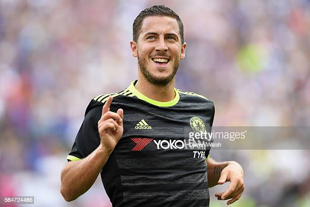 Eden Hazard of Chelsea celebrates scoring his sides second goal during the 2016 International Champions Cup match between Real Madrid and Chelsea at...