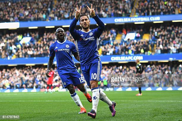 Eden Hazard of Chelsea celebrates scoring his sides second goal during the Premier League match between Chelsea and Leicester City at Stamford Bridge...