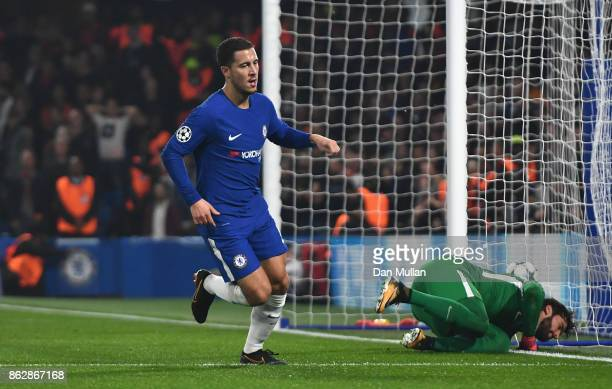 Eden Hazard of Chelsea celebrates scoring his sides second goal during the UEFA Champions League group C match between Chelsea FC and AS Roma at...