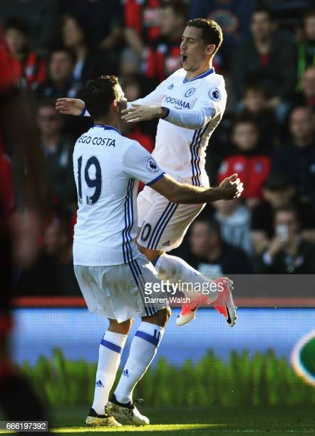 Eden Hazard of Chelsea celebrates scoring his sides second goal with Diego Costa of Chelsea during the Premier League match between AFC Bournemouth...