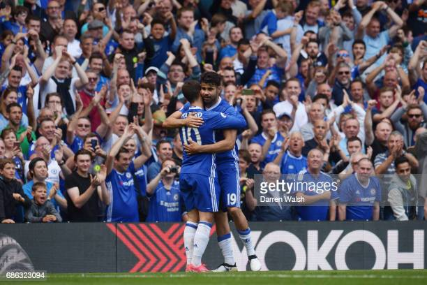 Eden Hazard of Chelsea celebrates scoring his sides second goal with Diego Costa of Chelsea during the Premier League match between Chelsea and...