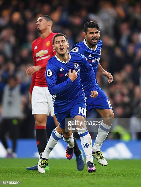Eden Hazard of Chelsea celebrates scoring his sides third goal during the Premier League match between Chelsea and Manchester United at Stamford...