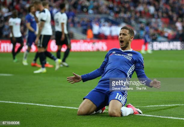 Eden Hazard of Chelsea celebrates scoring his sides third goal during The Emirates FA Cup SemiFinal between Chelsea and Tottenham Hotspur at Wembley...