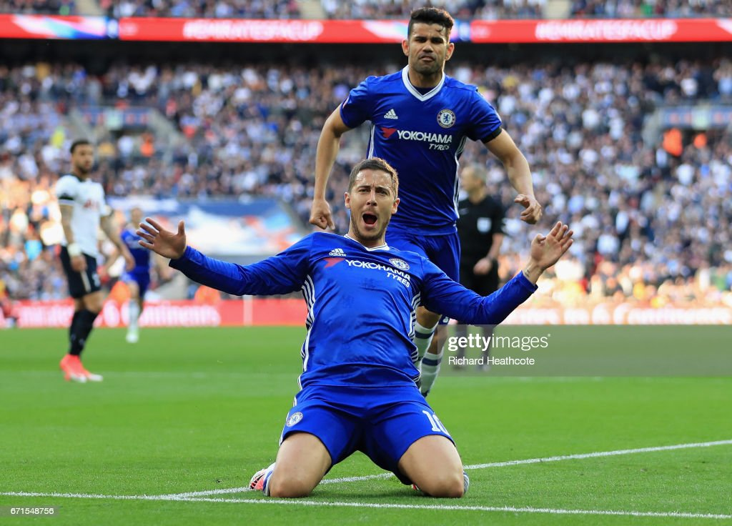 Eden Hazard of Chelsea celebrates scoring his sides third goal with Diego Costa of Chelsea during The Emirates FA Cup Semi-Final between Chelsea and Tottenham Hotspur at Wembley Stadium on April 22, 2017 in London, England.
