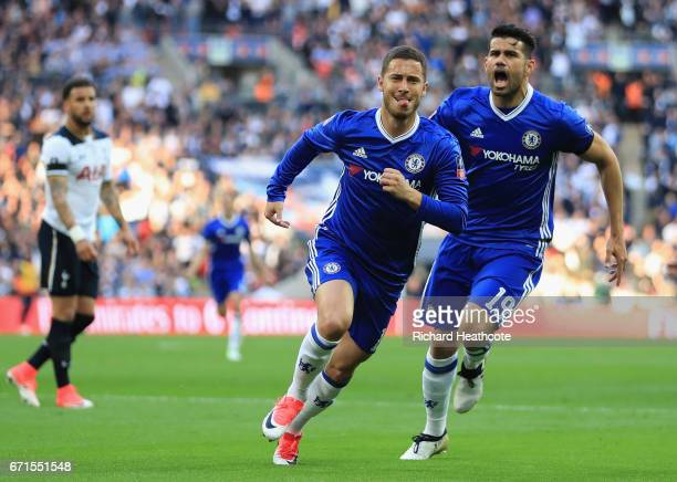 Eden Hazard of Chelsea celebrates scoring his sides third goal with Diego Costa of Chelsea during The Emirates FA Cup SemiFinal between Chelsea and...