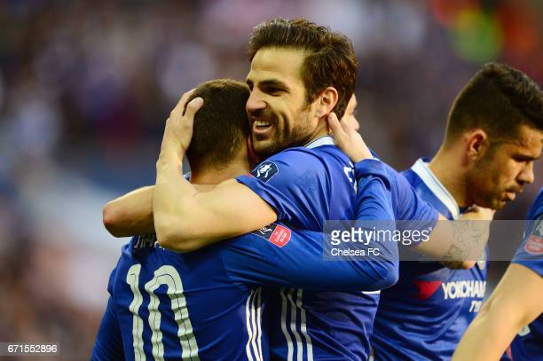 Eden Hazard of Chelsea celebrates scoring his sides third goal with Cesc Fabregas of Chelsea during The Emirates FA Cup SemiFinal between Chelsea and...