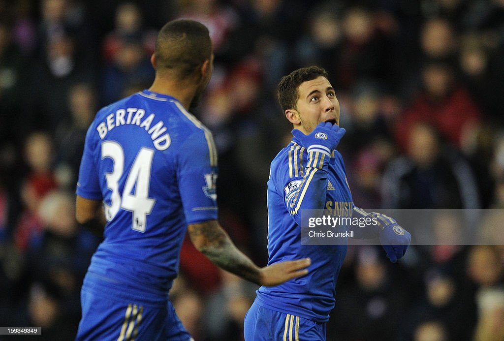 Eden Hazard of Chelsea celebrates scoring his team's fourth goal during the Barclays Premier League match between Stoke City and Chelsea at the Britannia Stadium on January 12, 2013, in Stoke-on-Trent, England.