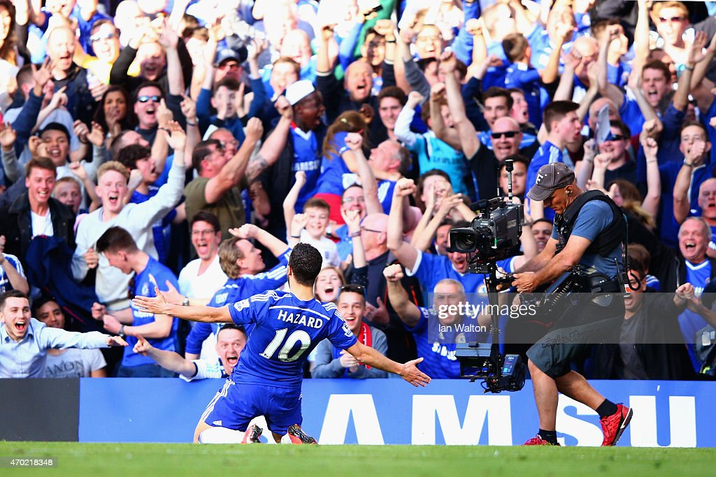 Eden Hazard of Chelsea celebrates scoring the opening goal during the Barclays Premier League match between Chelsea and Manchester United at Stamford Bridge on April 18, 2015 in London, England.