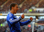 Eden Hazard of Chelsea celebrates scoring their first goal during the Barclays Premier League match between Hull City and Chelsea at KC Stadium on...