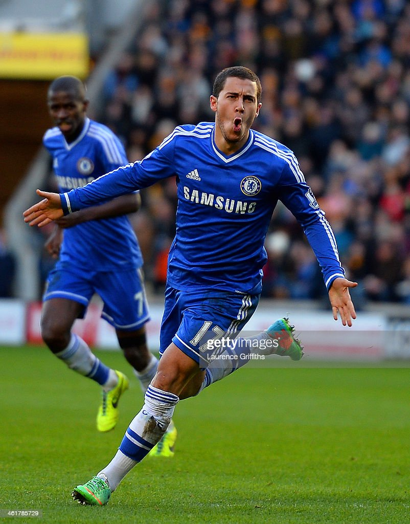 Eden Hazard of Chelsea celebrates scoring their first goal during the Barclays Premier League match between Hull City and Chelsea at KC Stadium on January 11, 2014 in Hull, England.