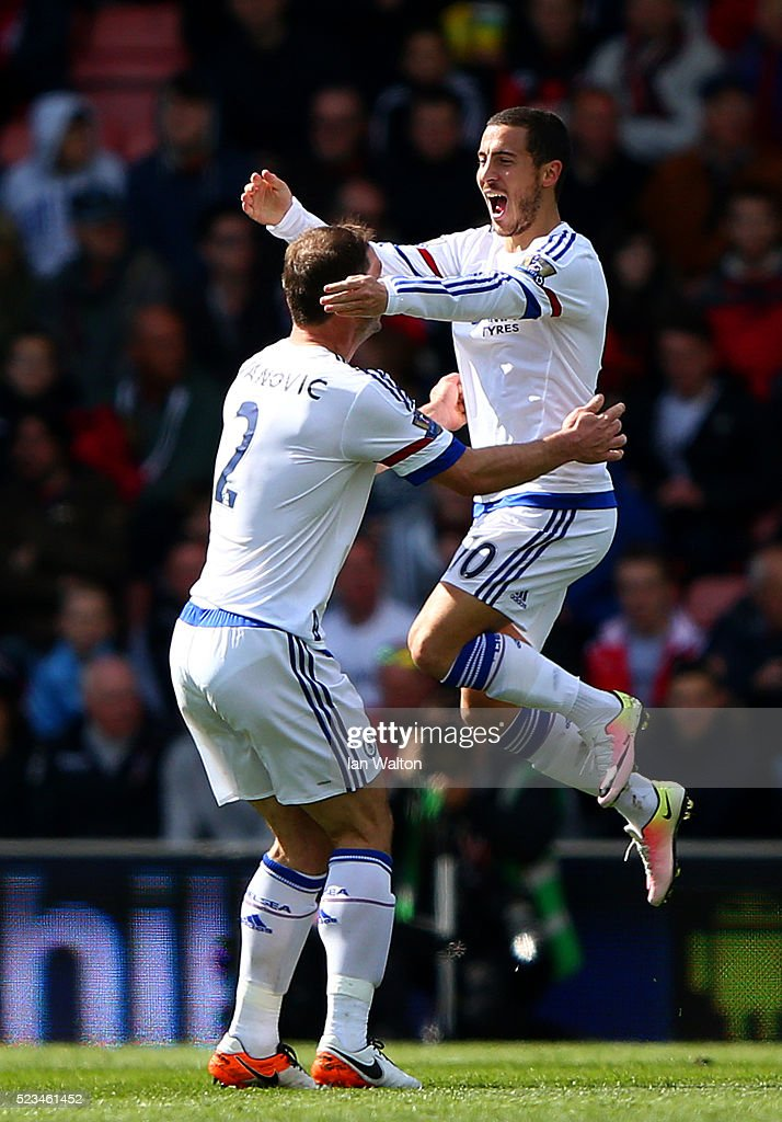 Eden Hazard of Chelsea celebrates with Branislav Ivanovic of Chelsea after scoring his sides second goal during the Barclays Premier League match between A.F.C. Bournemouth and Chelsea at the Vitality Stadium on April 23, 2016 in Bournemouth, United Kingdom.