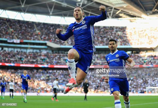 Eden Hazard of Chelsea celebrates with Diego Costa of Chelsea after scoring his sides third goal during The Emirates FA Cup SemiFinal between Chelsea...