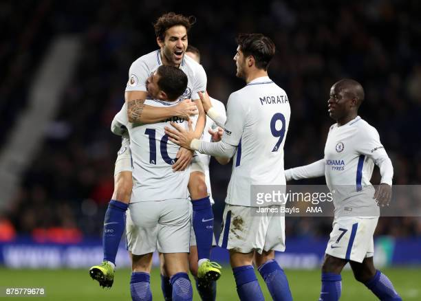 Eden Hazard of Chelsea celebrates with his team mates after scoring a goal to make it 04 during the Premier League match between West Bromwich Albion...