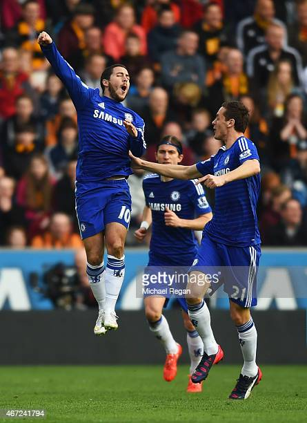 Eden Hazard of Chelsea celebrates with Nemanja Matic as he scores their first goal during the Barclays Premier League match between Hull City and...