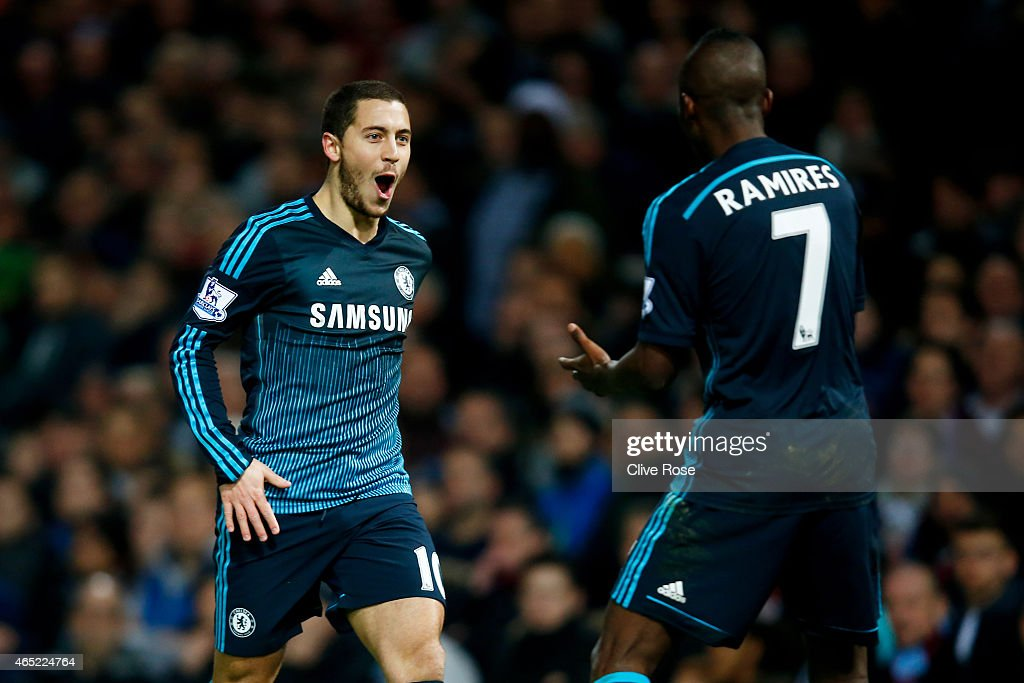 Eden Hazard of Chelsea celebrates with teammate Ramires #7 of Chelsea after scoring the opening goal during the Barclays Premier League match between West Ham and Chelsea at the Boleyn Ground on March 4, 2015 in London, England.