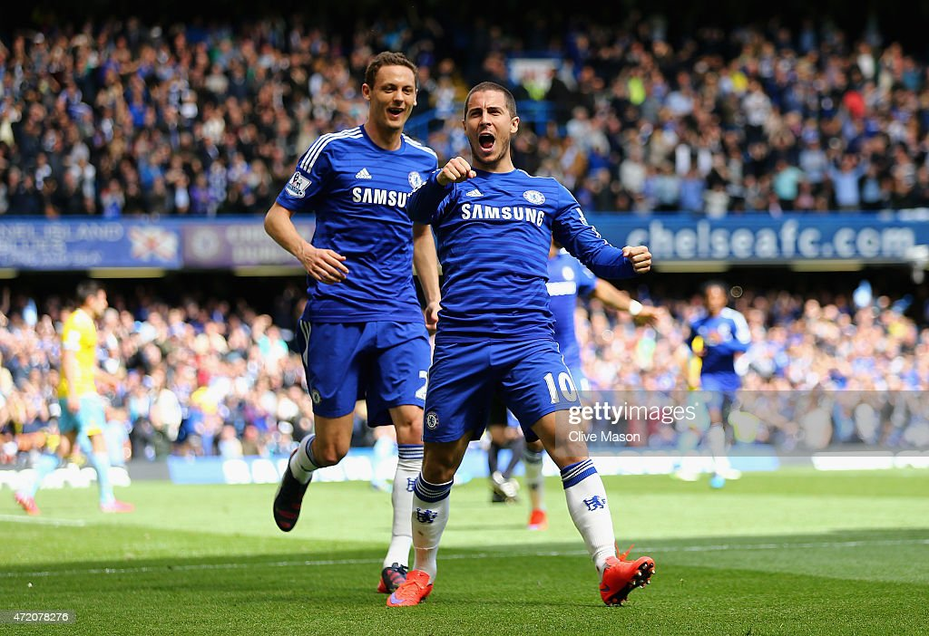 Eden Hazard of Chelsea (10) celebrates wtih Nemanja Matic (L) as he scores their first goal during the Barclays Premier League match between Chelsea and Crystal Palace at Stamford Bridge on May 3, 2015 in London, England.