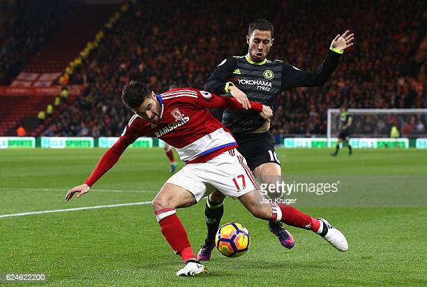 Eden Hazard of Chelsea challenges Antonio Barragan of Middlesbrough during the Premier League match between Middlesbrough and Chelsea at Riverside...