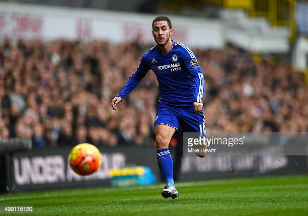 Eden Hazard of Chelsea chases the ball during the Barclays Premier League match between Tottenham Hotspur and Chelsea at White Hart Lane on November...