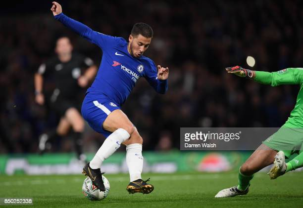 Eden Hazard of Chelsea controls the ball during the Carabao Cup Third Round match between Chelsea and Nottingham Forest at Stamford Bridge on...