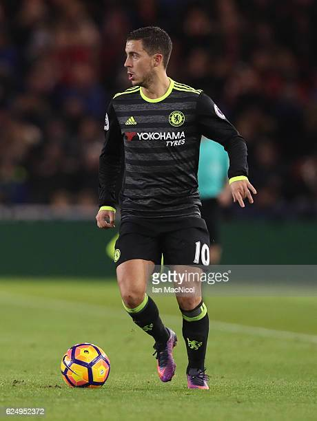 Eden Hazard of Chelsea controls the ball during the Premier League match between Middlesbrough and Chelsea at Riverside Stadium on November 20 2016...