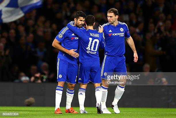 Eden Hazard of Chelsea Diego Costa of Chelsea and Branislav Ivanovic of Chelsea celebrate the first Chelsea goal during the UEFA Champions League...
