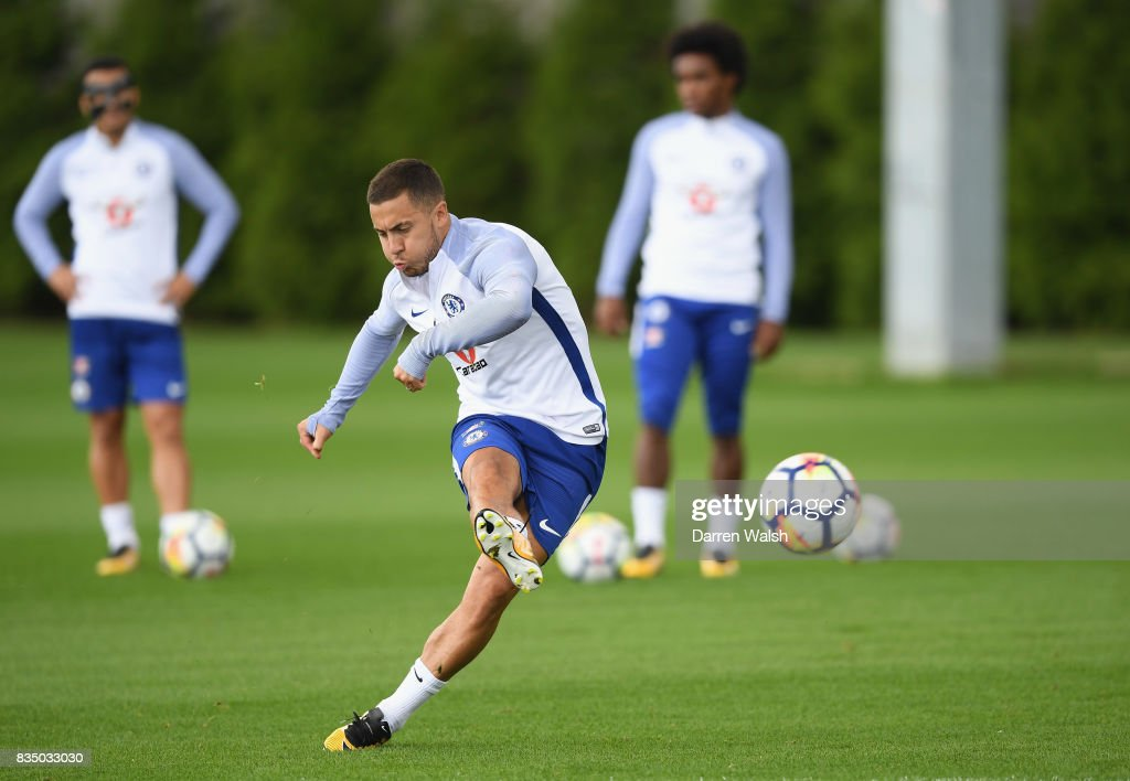 Eden Hazard of Chelsea during a training session at Chelsea Training Ground on August 18, 2017 in Cobham, England.